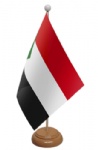 Sudan Desk / Table Flag with wooden stand and base